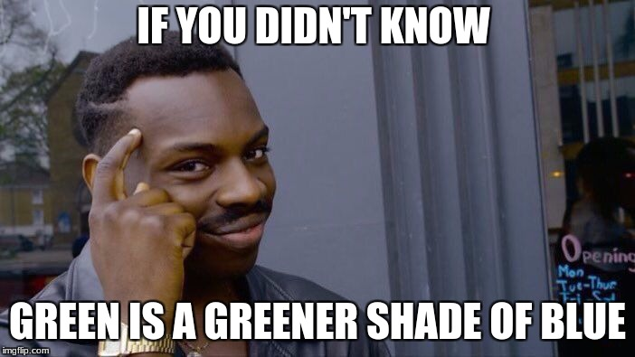 Roll Safe Think About It Meme | IF YOU DIDN'T KNOW GREEN IS A GREENER SHADE OF BLUE | image tagged in memes,roll safe think about it | made w/ Imgflip meme maker