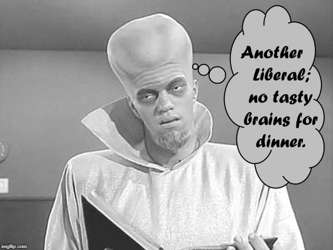 No brains For Dinner | image tagged in outer limits,liberals,brains,dinner | made w/ Imgflip meme maker