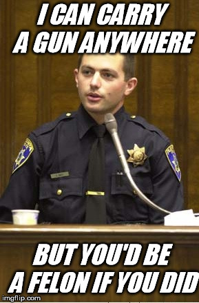 Police Officer Testifying Meme |  I CAN CARRY A GUN ANYWHERE; BUT YOU'D BE A FELON IF YOU DID | image tagged in memes,police officer testifying | made w/ Imgflip meme maker