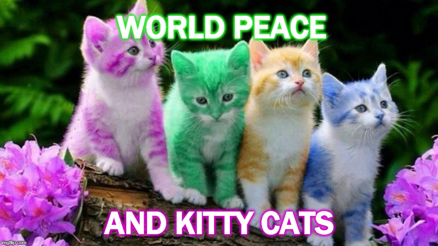 WORLD PEACE AND KITTY CATS | image tagged in world peace and kitties | made w/ Imgflip meme maker