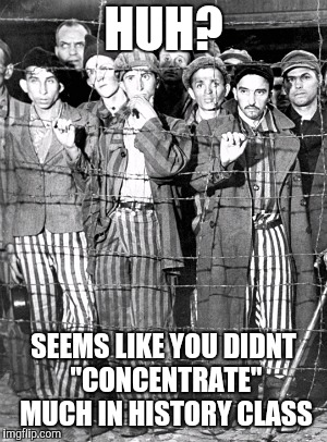 "Holocaust say what | HUH? SEEMS LIKE YOU DIDNT ""CONCENTRATE"" MUCH IN HISTORY CLASS 