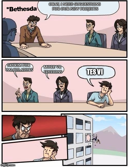 Board Room Meeting | OKAY, I NEED SUGGESTIONS FOR OUR NEW PROJECTS SKYRIM FOR CALCULATORS MORE VR EDITIONS TES VI | image tagged in board room meeting,gaming | made w/ Imgflip meme maker