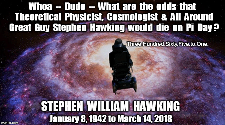 What are the odds Stephen Hawking would die on Pi Day? | Whoa  --  Dude  --  What  are  the  odds  that  Theoretical  Physicist,  Cosmologist  &  All  Around  Great  Guy  Stephen  Hawking  would  d | image tagged in stephen hawking,pi day | made w/ Imgflip meme maker