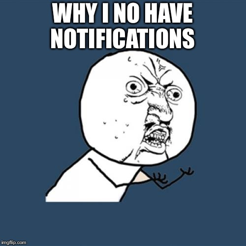 Y U No Meme | WHY I NO HAVE NOTIFICATIONS | image tagged in memes,y u no | made w/ Imgflip meme maker
