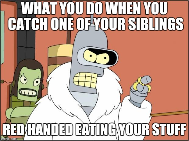 Bender Meme | WHAT YOU DO WHEN YOU CATCH ONE OF YOUR SIBLINGS RED HANDED EATING YOUR STUFF | image tagged in memes,bender | made w/ Imgflip meme maker