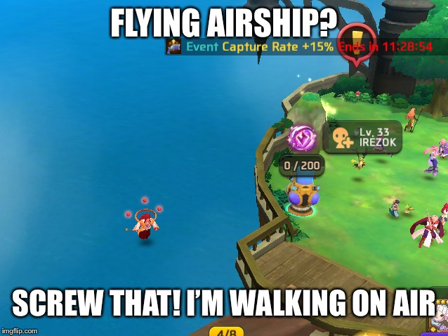 Like Skyrim horses | FLYING AIRSHIP? SCREW THAT! I'M WALKING ON AIR | image tagged in video games,memes | made w/ Imgflip meme maker