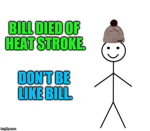 BILL DIED OF HEAT STROKE. DON'T BE LIKE BILL. | made w/ Imgflip meme maker