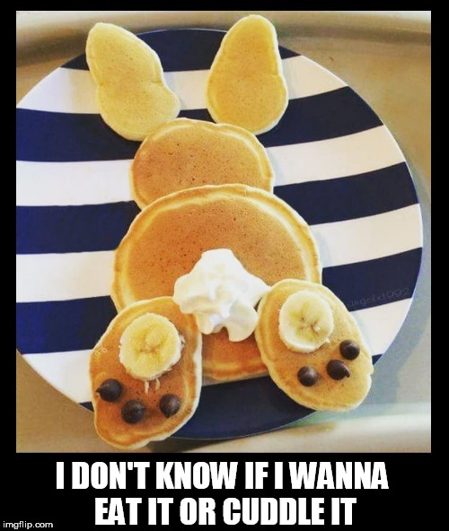 I DON'T KNOW IF I WANNA EAT IT OR CUDDLE IT | image tagged in pancakes,bunny,breakfast,cute,cuddle,cute bunny | made w/ Imgflip meme maker