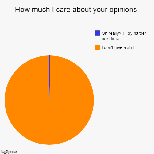 How much I care about your opinions | I don't give a shit., Oh really? I'll try harder next time. | image tagged in funny,pie charts | made w/ Imgflip pie chart maker