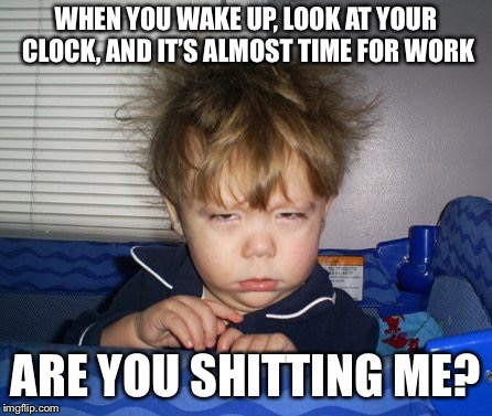 Me in the morning after time change | WHEN YOU WAKE UP, LOOK AT YOUR CLOCK, AND IT'S ALMOST TIME FOR WORK ARE YOU SHITTING ME? | image tagged in mornings,suck,daylight savings time,funny memes | made w/ Imgflip meme maker