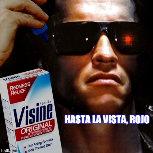 Hopefully it won't be back... | HASTA LA VISTA, ROJO | image tagged in terminator,eyes,clean,funny,movies | made w/ Imgflip meme maker