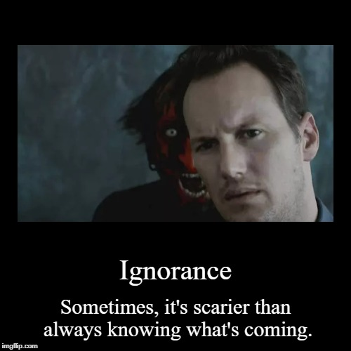 Ignorance | Sometimes, it's scarier than always knowing what's coming. | image tagged in funny,demotivationals | made w/ Imgflip demotivational maker