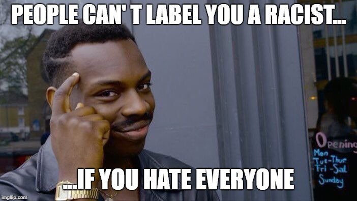 Common Sense at it's finest | PEOPLE CAN' T LABEL YOU A RACIST... ...IF YOU HATE EVERYONE | image tagged in memes,roll safe think about it | made w/ Imgflip meme maker