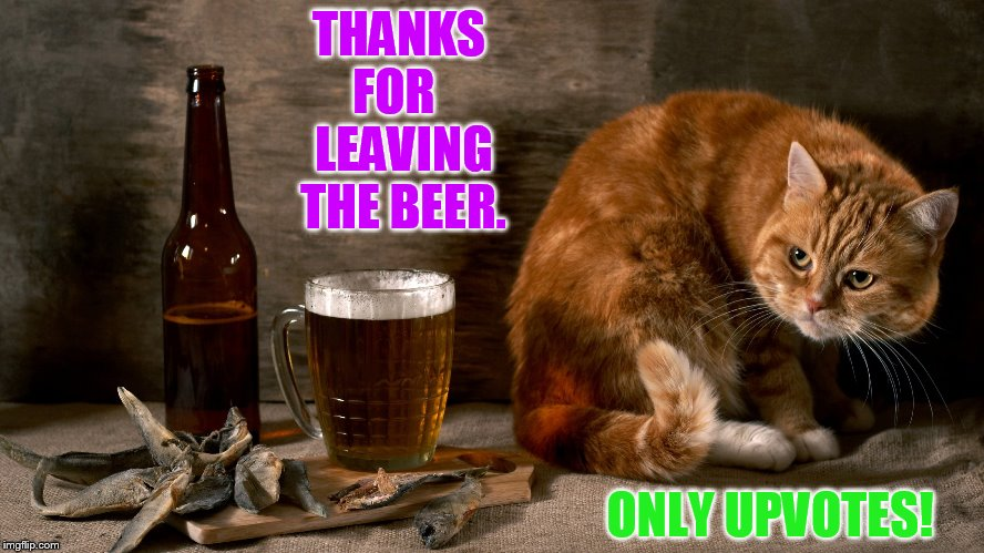 THANKS FOR   LEAVING THE BEER. ONLY UPVOTES! | made w/ Imgflip meme maker