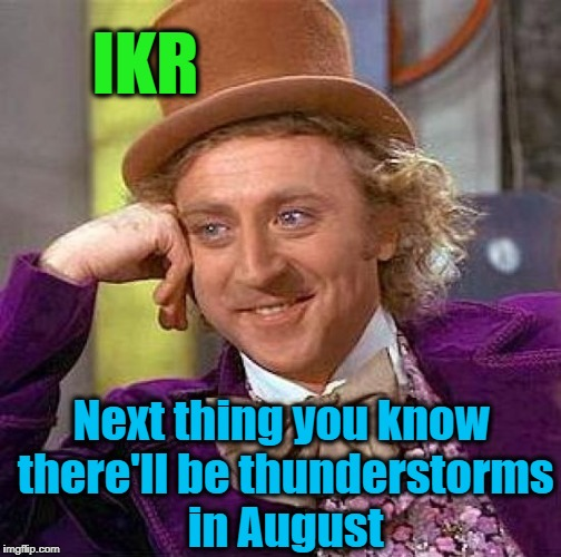 Creepy Condescending Wonka Meme | IKR Next thing you know there'll be thunderstorms in August | image tagged in memes,creepy condescending wonka | made w/ Imgflip meme maker