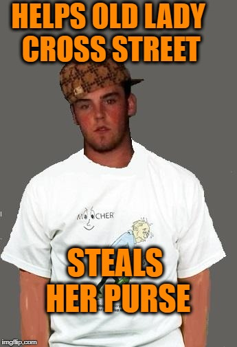 warmer season Scumbag Steve | HELPS OLD LADY CROSS STREET STEALS HER PURSE | image tagged in warmer season scumbag steve | made w/ Imgflip meme maker