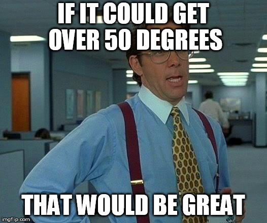 That Would Be Great Meme | IF IT COULD GET OVER 50 DEGREES THAT WOULD BE GREAT | image tagged in memes,that would be great,AdviceAnimals | made w/ Imgflip meme maker