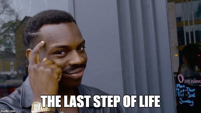 Roll Safe Think About It Meme | THE LAST STEP OF LIFE | image tagged in memes,roll safe think about it | made w/ Imgflip meme maker
