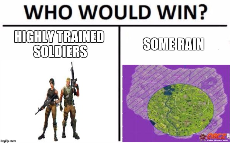 Who Would Win? | HIGHLY TRAINED SOLDIERS SOME RAIN | image tagged in memes,who would win | made w/ Imgflip meme maker