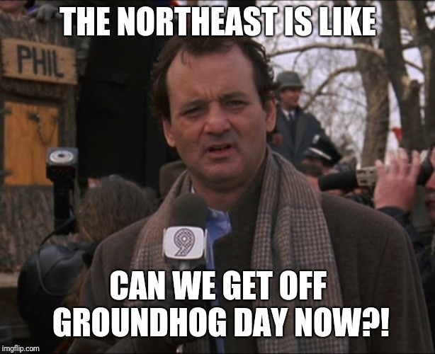 Bill Murray Groundhog Day | THE NORTHEAST IS LIKE CAN WE GET OFF GROUNDHOG DAY NOW?! | image tagged in bill murray groundhog day | made w/ Imgflip meme maker