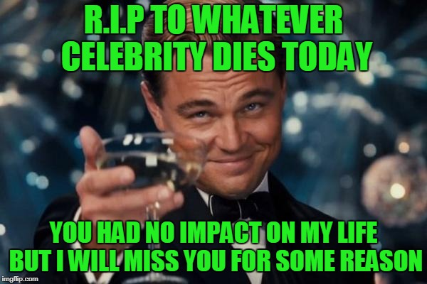 I really don't get it. | R.I.P TO WHATEVER CELEBRITY DIES TODAY YOU HAD NO IMPACT ON MY LIFE BUT I WILL MISS YOU FOR SOME REASON | image tagged in memes,leonardo dicaprio cheers | made w/ Imgflip meme maker