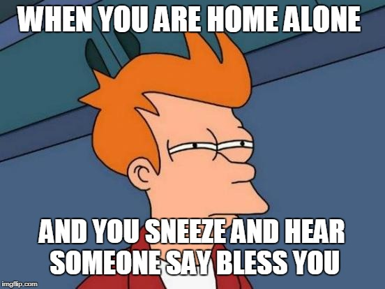 Futurama Fry Meme | WHEN YOU ARE HOME ALONE AND YOU SNEEZE AND HEAR SOMEONE SAY BLESS YOU | image tagged in memes,futurama fry | made w/ Imgflip meme maker