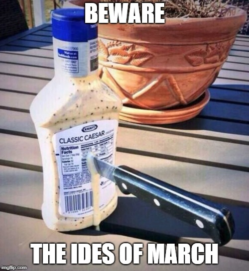 BEWARE THE IDES OF MARCH | image tagged in betrayal,julius caesar,caesar | made w/ Imgflip meme maker