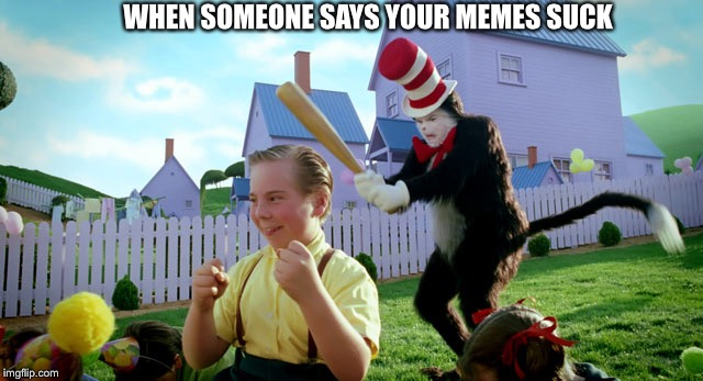 WHEN SOMEONE SAYS YOUR MEMES SUCK | image tagged in cat in the hat with a bat ______ colorized | made w/ Imgflip meme maker