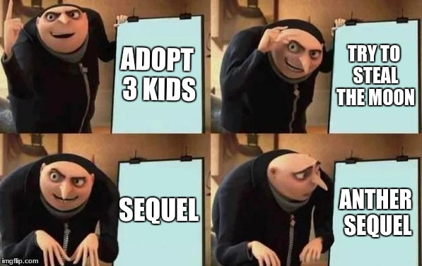 Gru In a Nutshell | ADOPT 3 KIDS TRY TO STEAL THE MOON SEQUEL ANTHER SEQUEL | image tagged in gru's plan | made w/ Imgflip meme maker