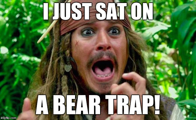 Help? | I JUST SAT ON A BEAR TRAP! | image tagged in funny,pirates of the carribean,captain jack sparrow,screaming | made w/ Imgflip meme maker