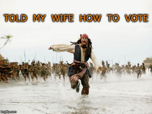 Jack Sparrow Being Chased Meme | TOLD  MY  WIFE  HOW  TO  VOTE | image tagged in memes,jack sparrow being chased | made w/ Imgflip meme maker
