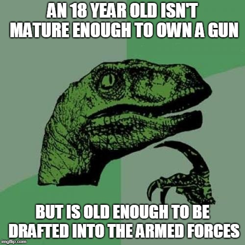 Philosoraptor Meme | AN 18 YEAR OLD ISN'T MATURE ENOUGH TO OWN A GUN BUT IS OLD ENOUGH TO BE DRAFTED INTO THE ARMED FORCES | image tagged in memes,philosoraptor | made w/ Imgflip meme maker