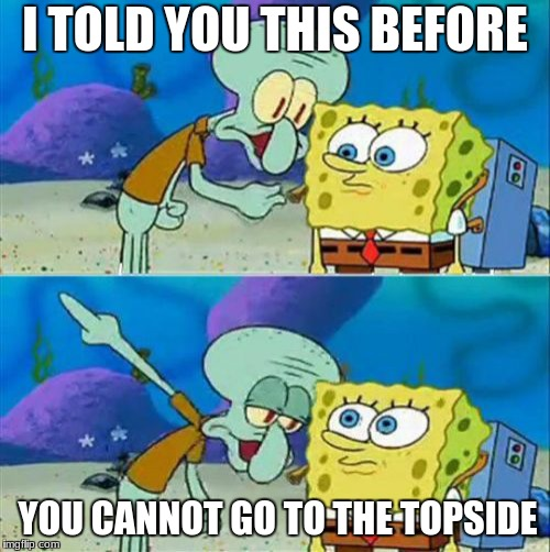 Talk To Spongebob Meme | I TOLD YOU THIS BEFORE YOU CANNOT GO TO THE TOPSIDE | image tagged in memes,talk to spongebob | made w/ Imgflip meme maker