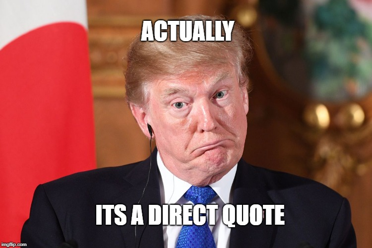 Trump dumbfounded | ACTUALLY ITS A DIRECT QUOTE | image tagged in trump dumbfounded | made w/ Imgflip meme maker