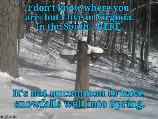 I don't know where you are, but I live in Virginia. In the South...HERE. It's not uncommon to have snowfalls well into Spring. | made w/ Imgflip meme maker
