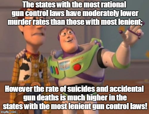X, X Everywhere Meme | The states with the most rational gun control laws have moderately lower murder rates than those with most lenient; However the rate of suic | image tagged in memes,x x everywhere | made w/ Imgflip meme maker