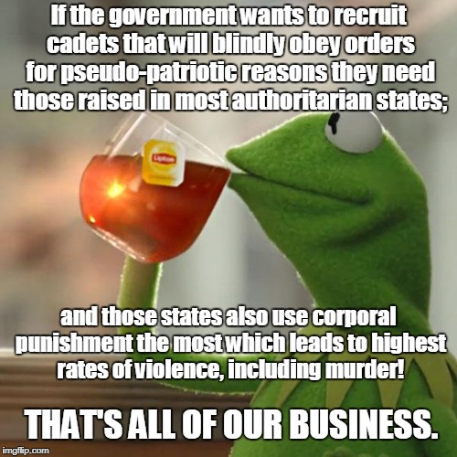 But Thats None Of My Business Meme | If the government wants to recruit cadets that will blindly obey orders for pseudo-patriotic reasons they need those raised in most authorit | image tagged in memes,but thats none of my business,kermit the frog | made w/ Imgflip meme maker
