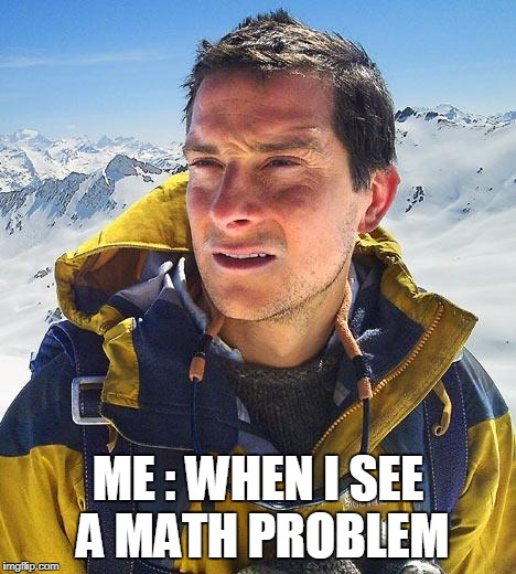 Bear Grylls Meme | ME : WHEN I SEE A MATH PROBLEM | image tagged in memes,bear grylls | made w/ Imgflip meme maker