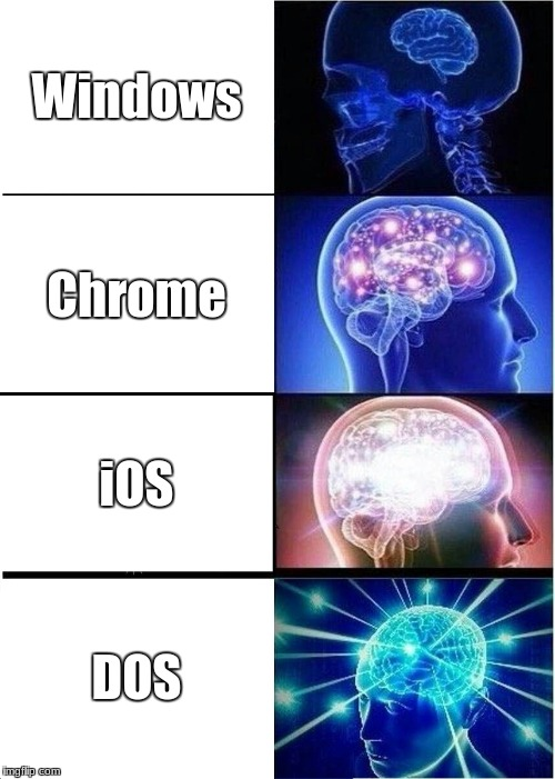 Don't like Chrome OS, never used iOS, wanna try DOS. | Windows Chrome iOS DOS | image tagged in memes,expanding brain,windows,chrome,ios,dos | made w/ Imgflip meme maker