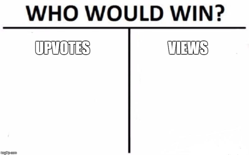 Who Would Win? Meme | UPVOTES VIEWS | image tagged in memes,who would win | made w/ Imgflip meme maker