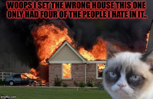 Burn Kitty | WOOPS I SET THE WRONG HOUSE THIS ONE ONLY HAD FOUR OF THE PEOPLE I HATE IN IT.. | image tagged in memes,burn kitty,grumpy cat,meme,masqurade_,wrong house | made w/ Imgflip meme maker