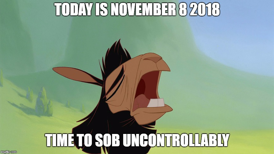 Screaming Liberal Llama |  TODAY IS NOVEMBER 8 2018; TIME TO SOB UNCONTROLLABLY | image tagged in emperor's new groove kuzco llama,screaming liberal,donald trump,make donald drumpf again,donald drumpf,crying | made w/ Imgflip meme maker