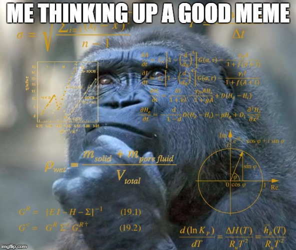 Thinking Math Ape | ME THINKING UP A GOOD MEME | image tagged in thinking math ape | made w/ Imgflip meme maker