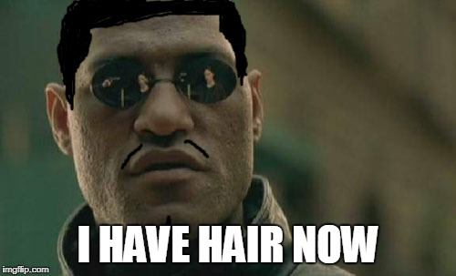 Matrix Morpheus Meme | I HAVE HAIR NOW | image tagged in memes,matrix morpheus | made w/ Imgflip meme maker