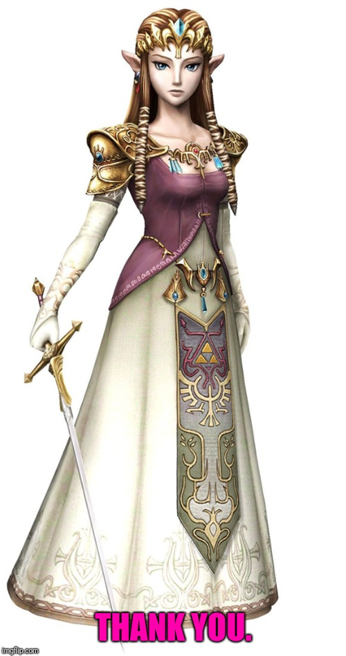 Princess Zelda | THANK YOU. | image tagged in princess zelda | made w/ Imgflip meme maker