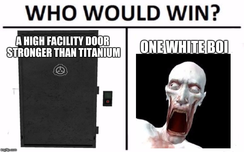 how does this make sense? | A HIGH FACILITY DOOR STRONGER THAN TITANIUM ONE WHITE BOI | image tagged in funny,memes,scp meme,who would win | made w/ Imgflip meme maker