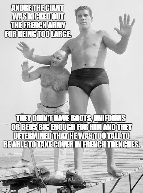 And They Also Couldn't Afford To Feed Him ! |  ANDRE THE GIANT WAS KICKED OUT THE FRENCH ARMY FOR BEING TOO LARGE. THEY DIDN'T HAVE BOOTS, UNIFORMS OR BEDS BIG ENOUGH FOR HIM AND THEY DETERMINED THAT HE WAS TOO TALL TO BE ABLE TO TAKE COVER IN FRENCH TRENCHES. | image tagged in andre the giant,french army,kicked out,seven foot 4 inches | made w/ Imgflip meme maker