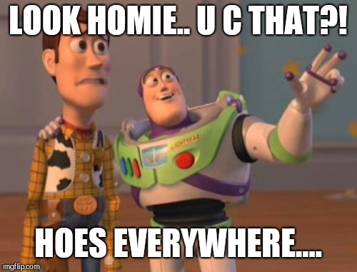 X, X Everywhere Meme | LOOK HOMIE.. U C THAT?! HOES EVERYWHERE.... | image tagged in memes,x,x everywhere,x x everywhere | made w/ Imgflip meme maker