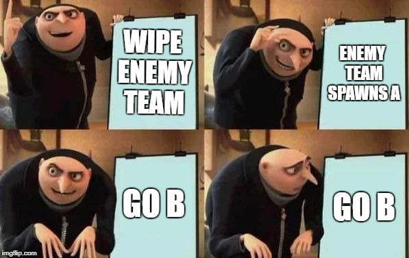 Gru's Plan | WIPE ENEMY TEAM ENEMY TEAM SPAWNS A GO B GO B | image tagged in gru's plan | made w/ Imgflip meme maker