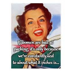 Parking... | If women are bad at parking, it's only because we're constantly lied to about what 8 inches is... | image tagged in women,lied to,8 inches,parking | made w/ Imgflip meme maker